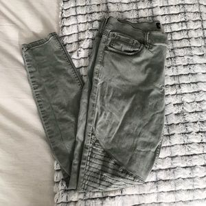 Express olive green moto skinny pants